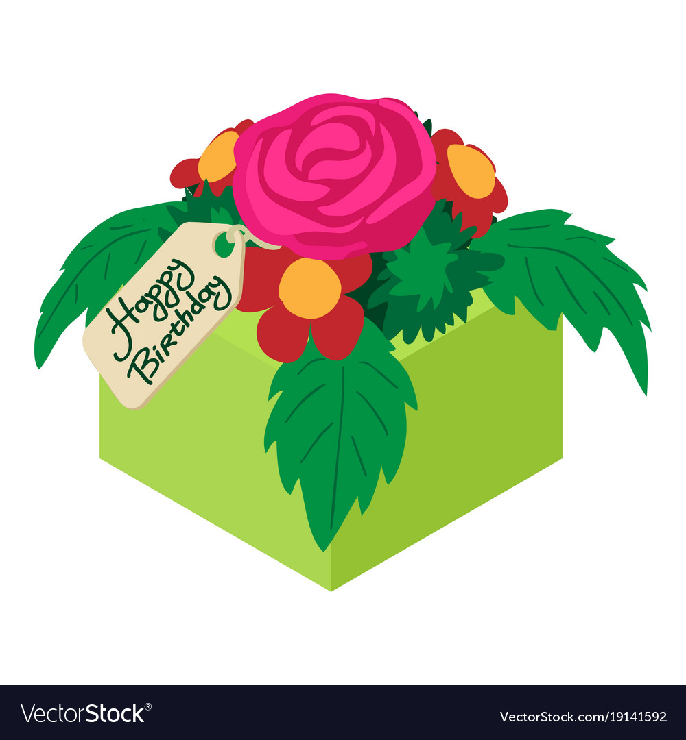 Bouquet Flowers Birthday Icon Isometric 3d Style Vector Image