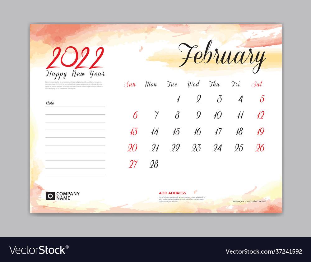 Calendar 2022 Template February Month Design Vector Image