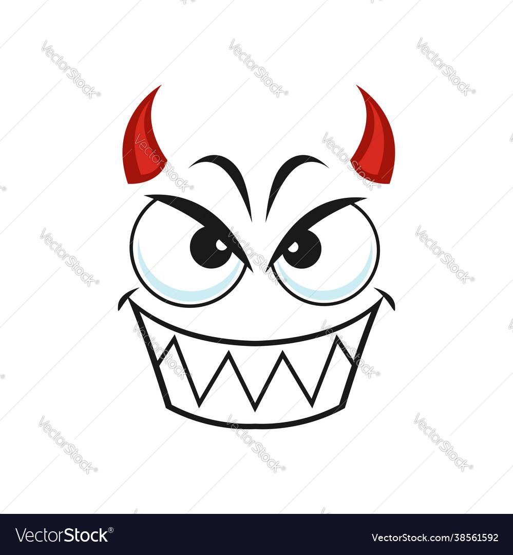 Cartoon devil face smiling demon emoji