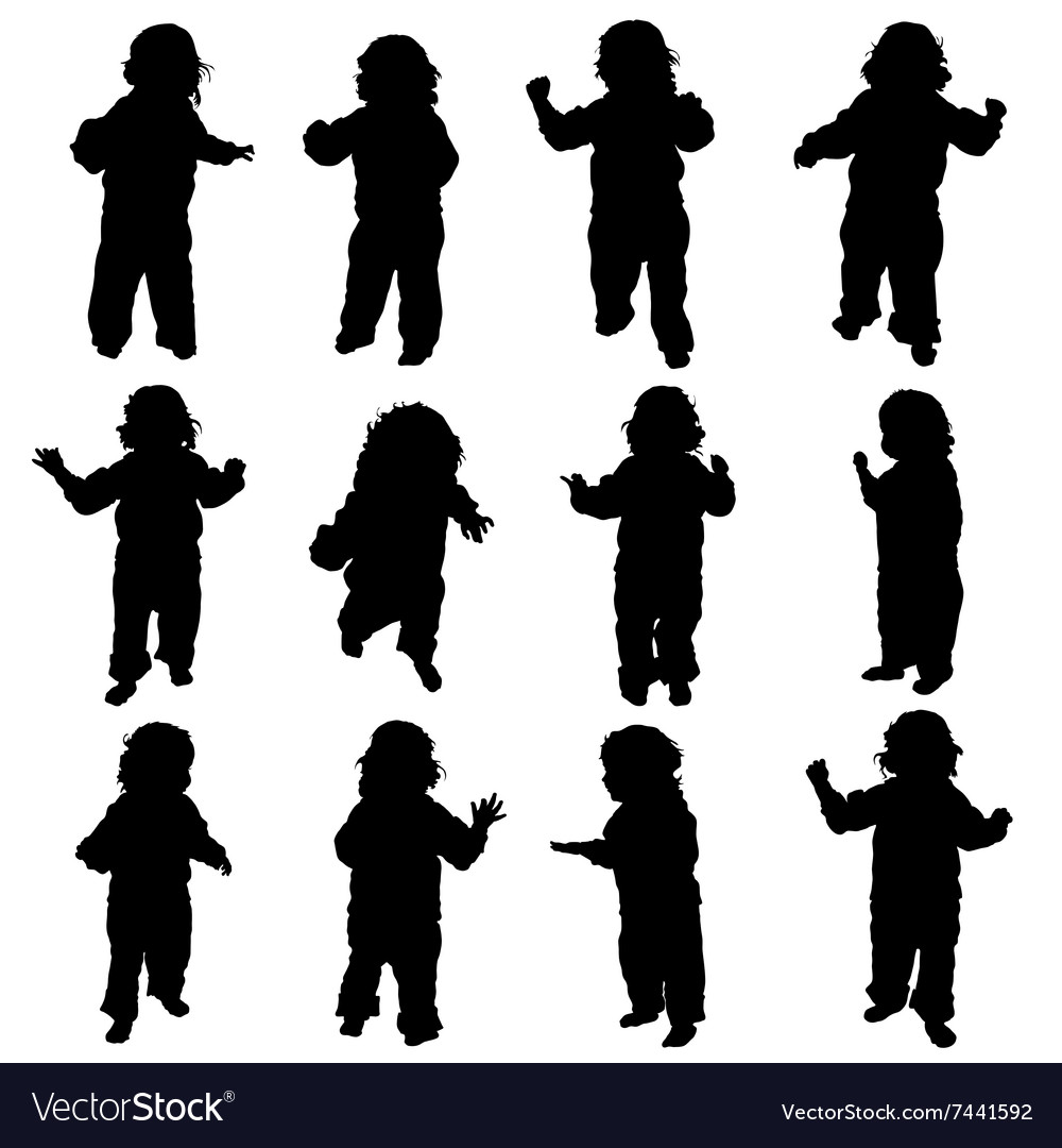 Child standing silhouette vector image