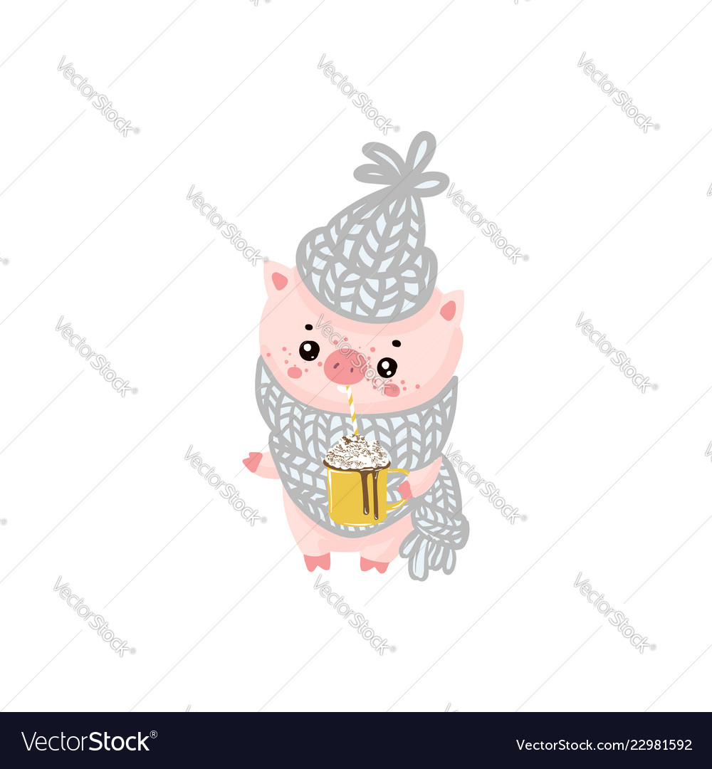 Christmas pinky piggy with a hat new year symbol
