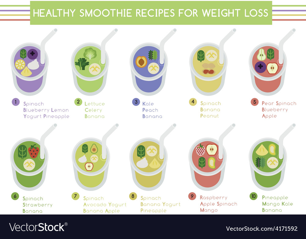 Healthy Smoothie Recipes For Weight Loss Vector Image
