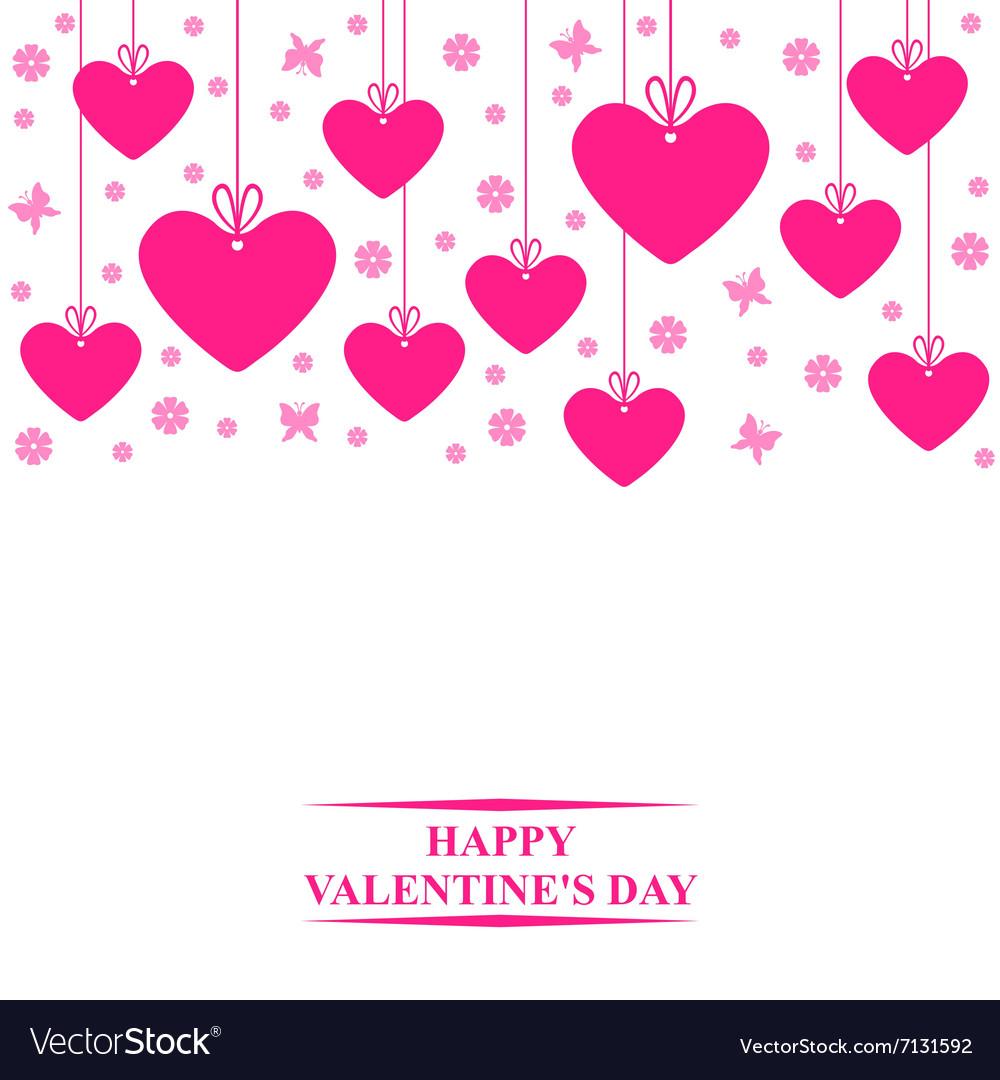 Hearts card hang vector image