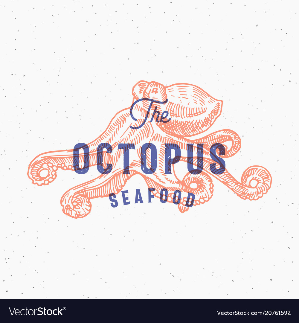 Octopus seafood retro print effect card