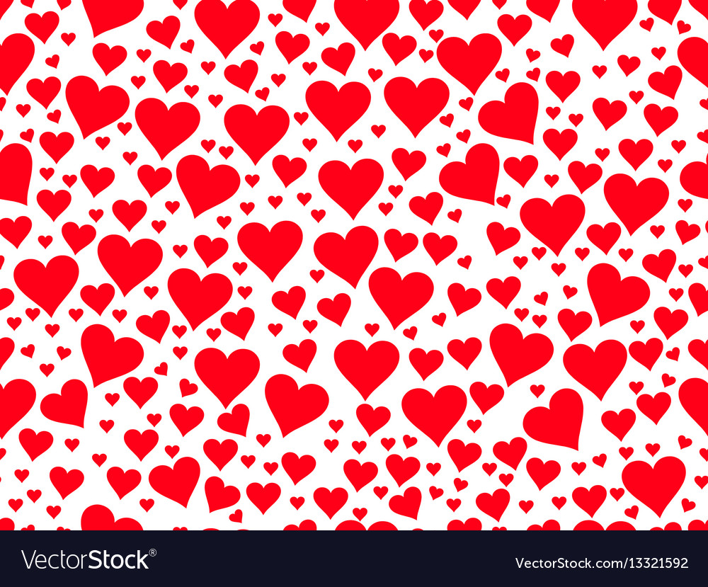 Seamless pattern with red hearts on a white vector image