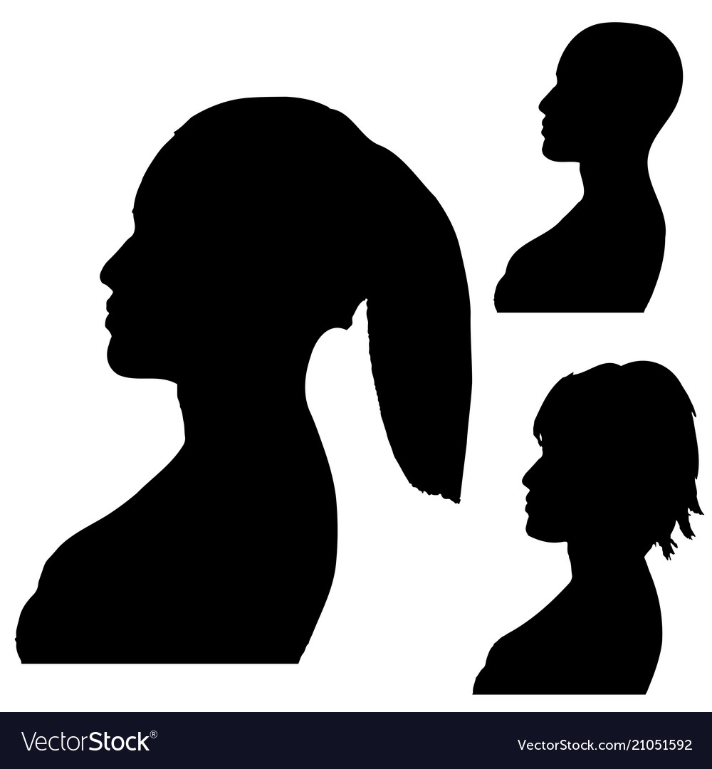 Silhouettes of womens heads side shot isolated on