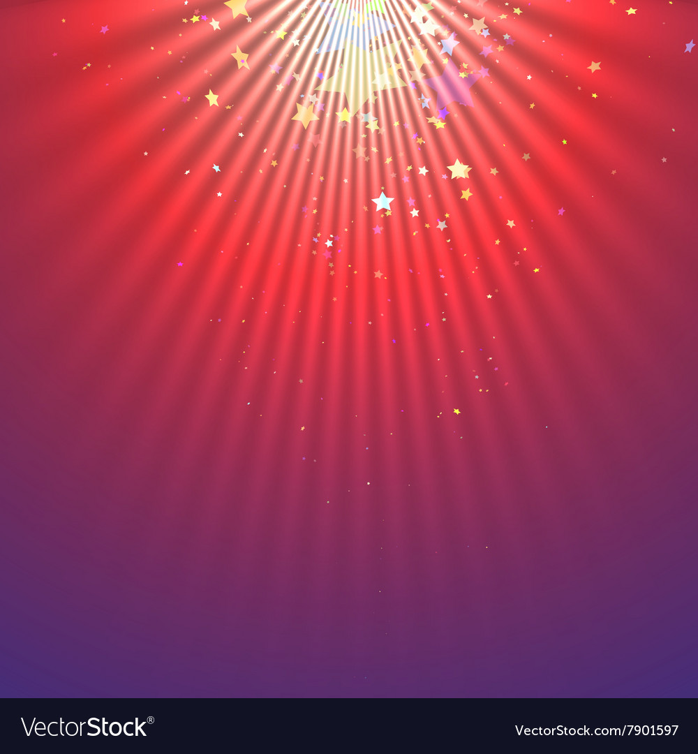 Abstract light beams with falling stars vector image
