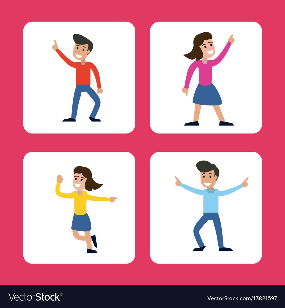 Cartoon man and woman dancing happy