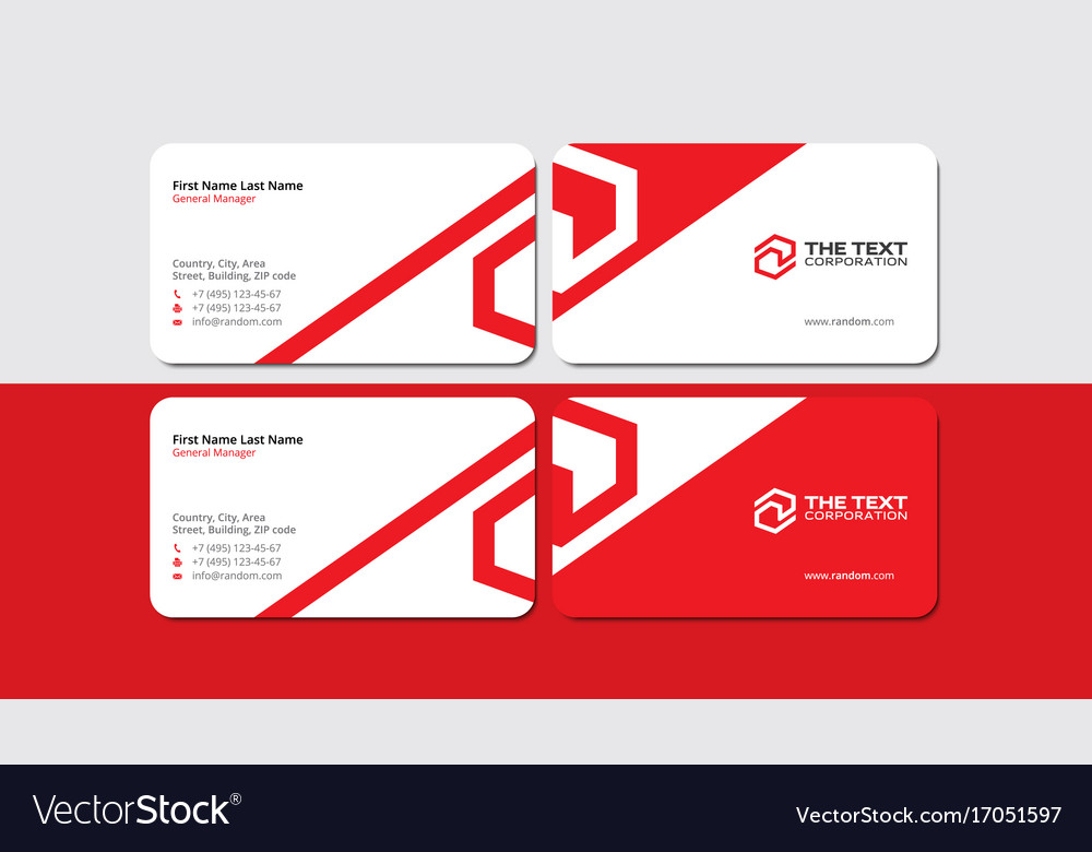 Creative Corporate Red Business Card Template Vector Image