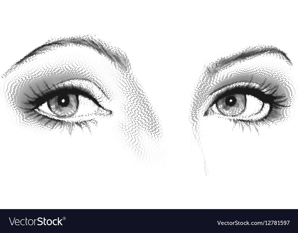 Female eyes look