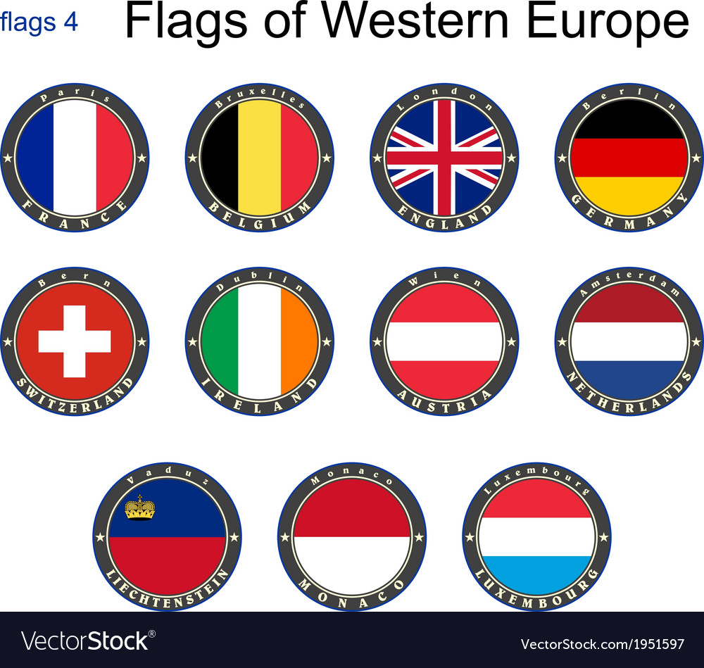 Flags of Western Europe vector image