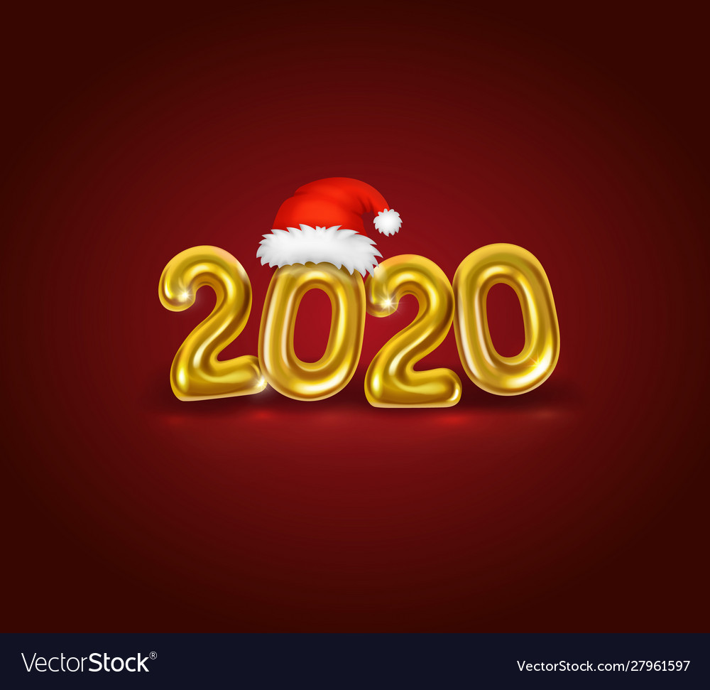 Happy new 2020 year golden realistic numbers
