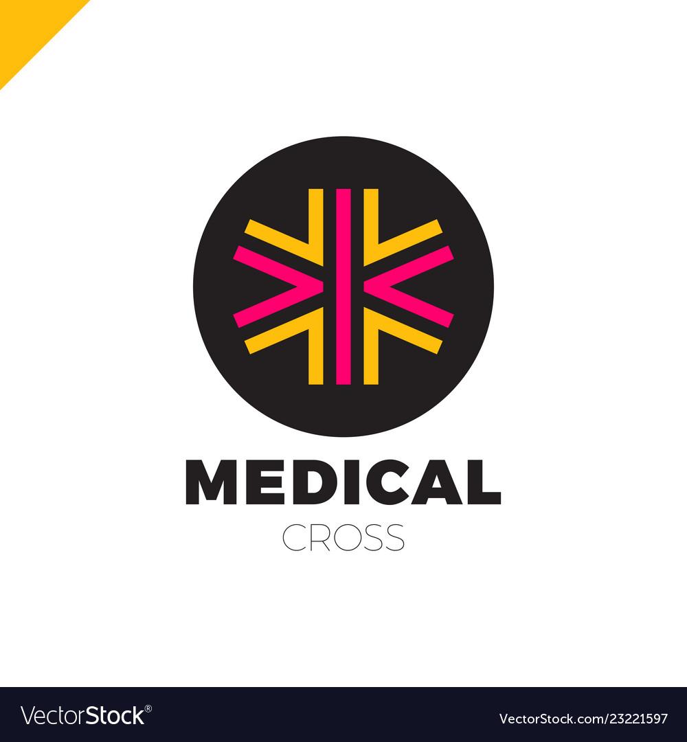 Medic cross icon pharmacy logo template corporate