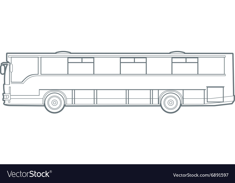 Outline city bus vector image