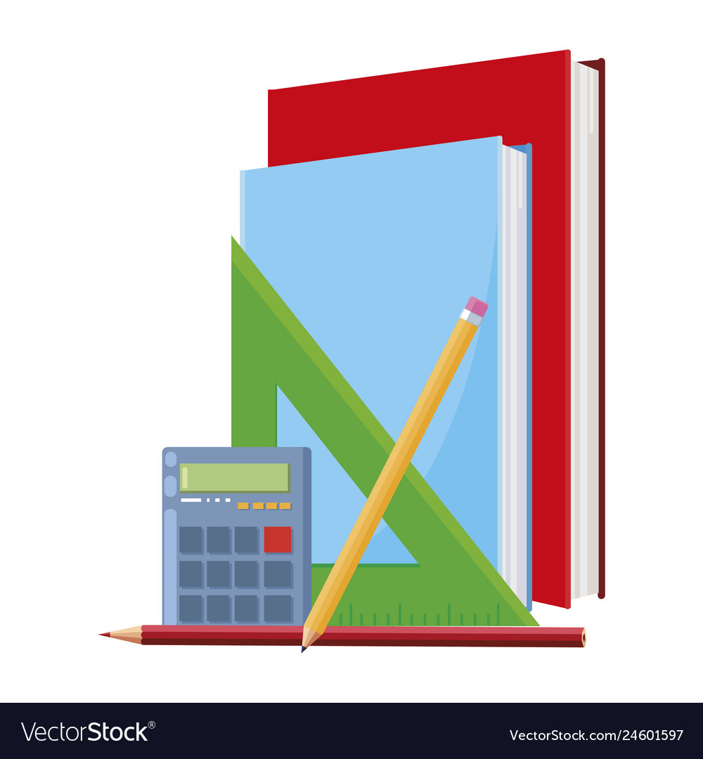 Pile text books with calculator and supplies