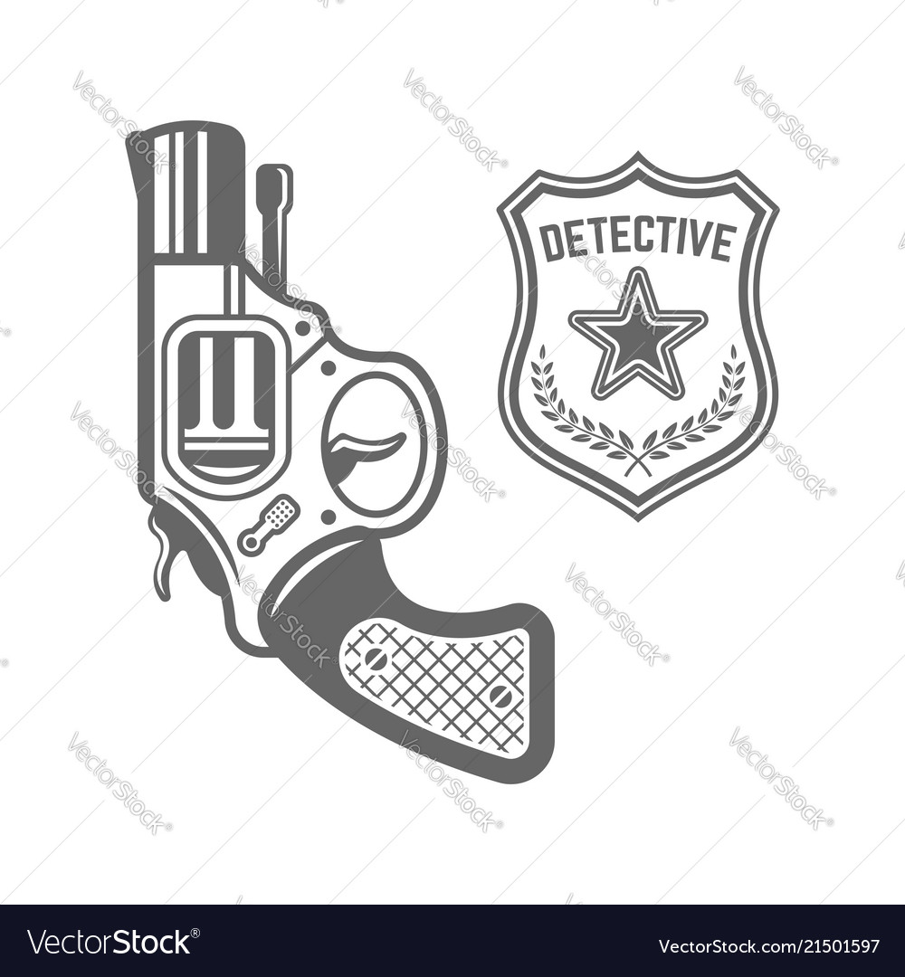 Revolver and detective badge