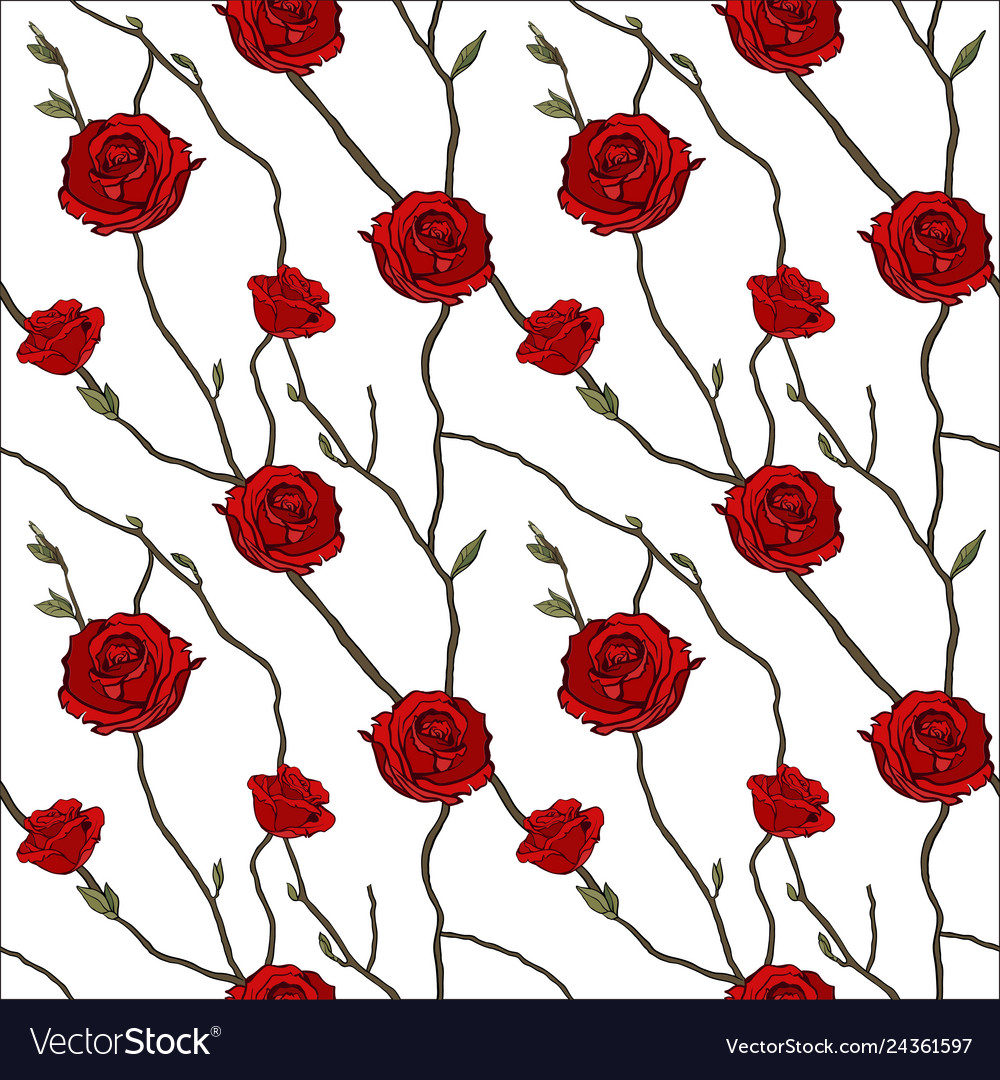 Seamless pattern of twigs and red roses