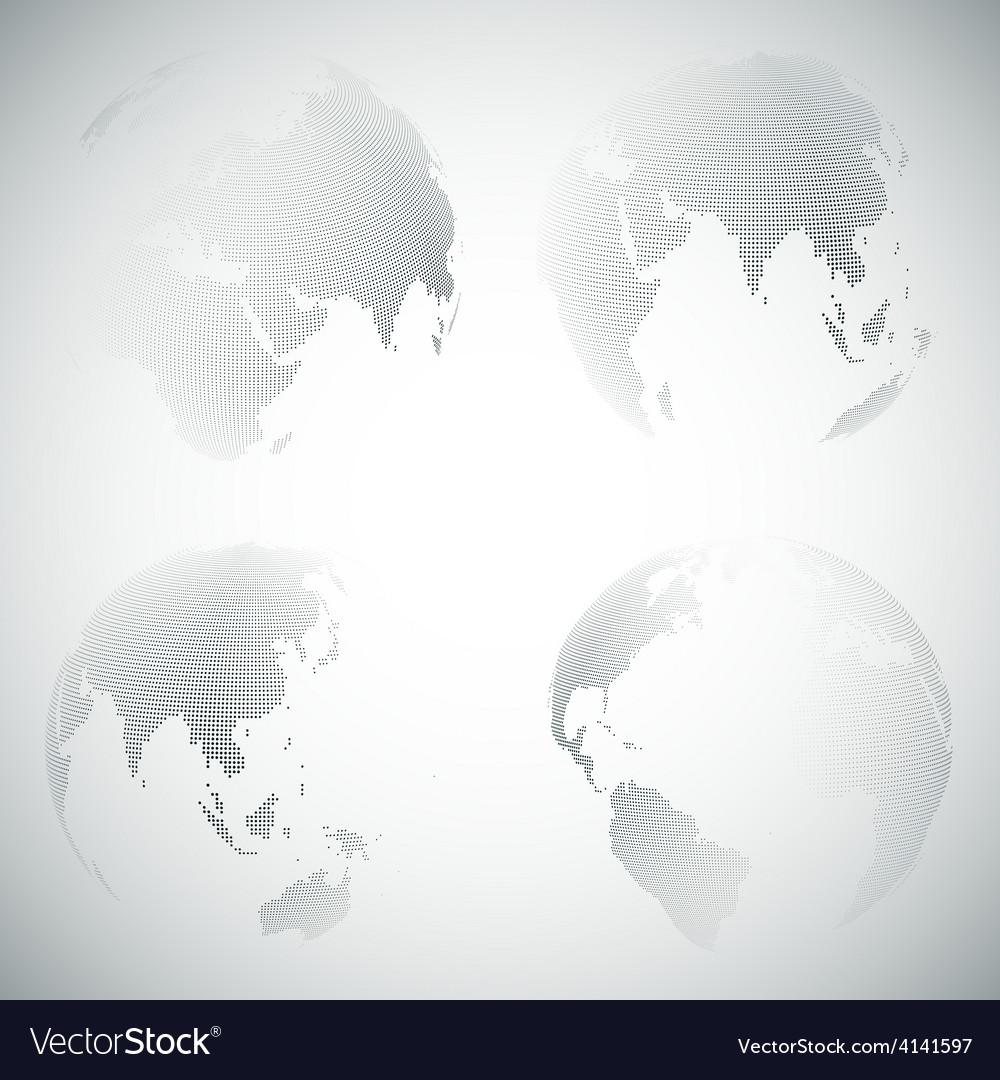 Set of dotted world globes light design