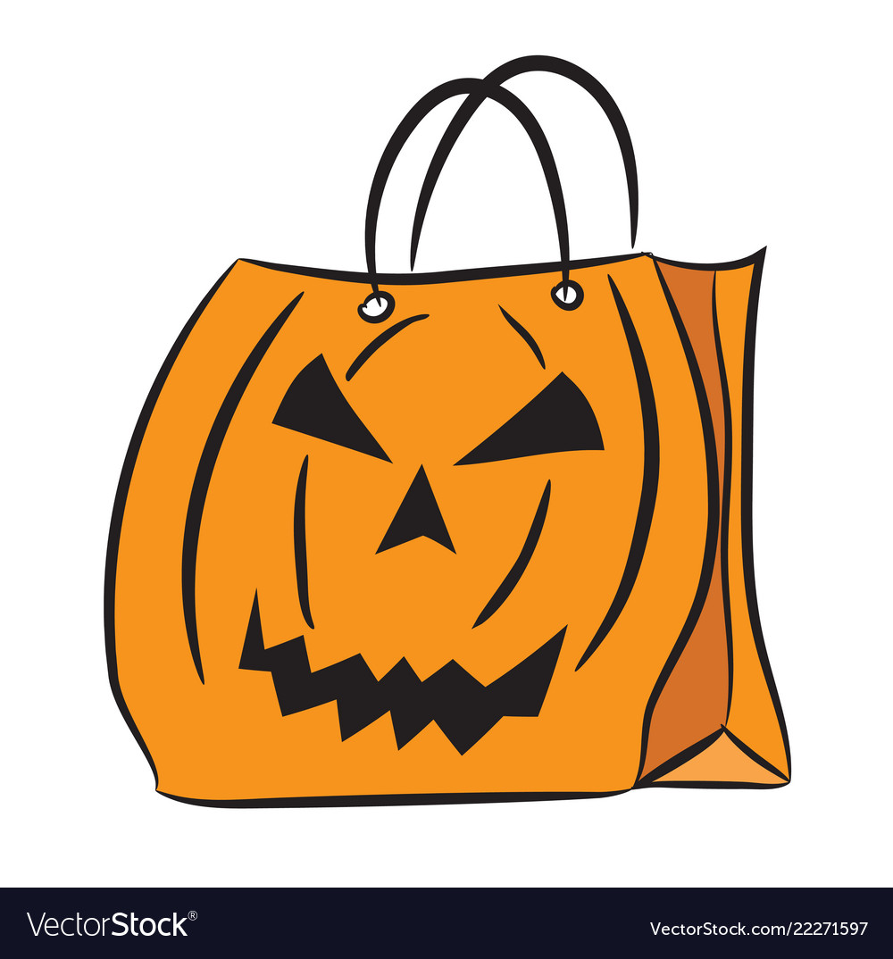 Set shopping bags with halloween pattern