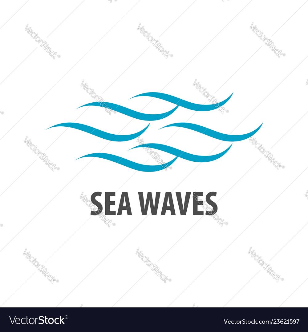 Simple brush line sea waves logo concept design