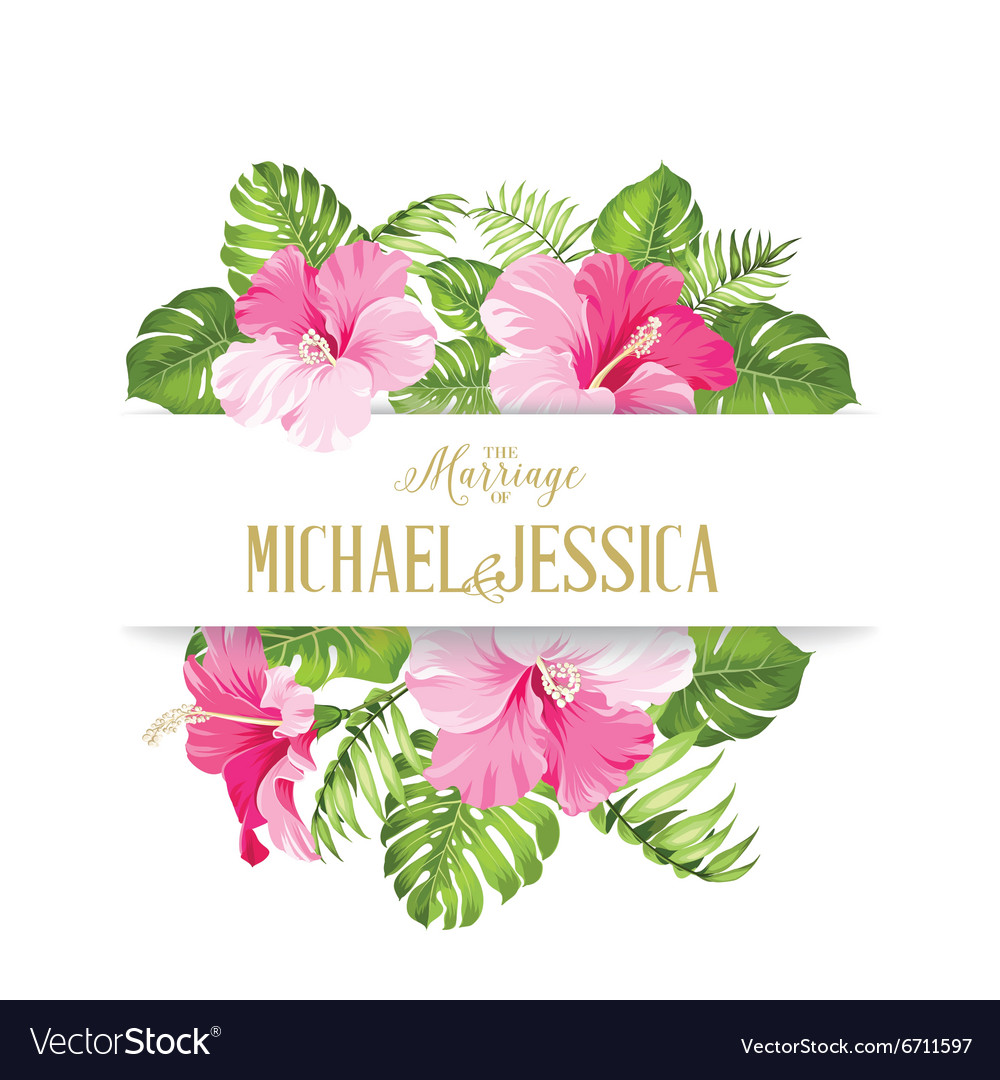 Tropical flower frame Royalty Free Vector Image