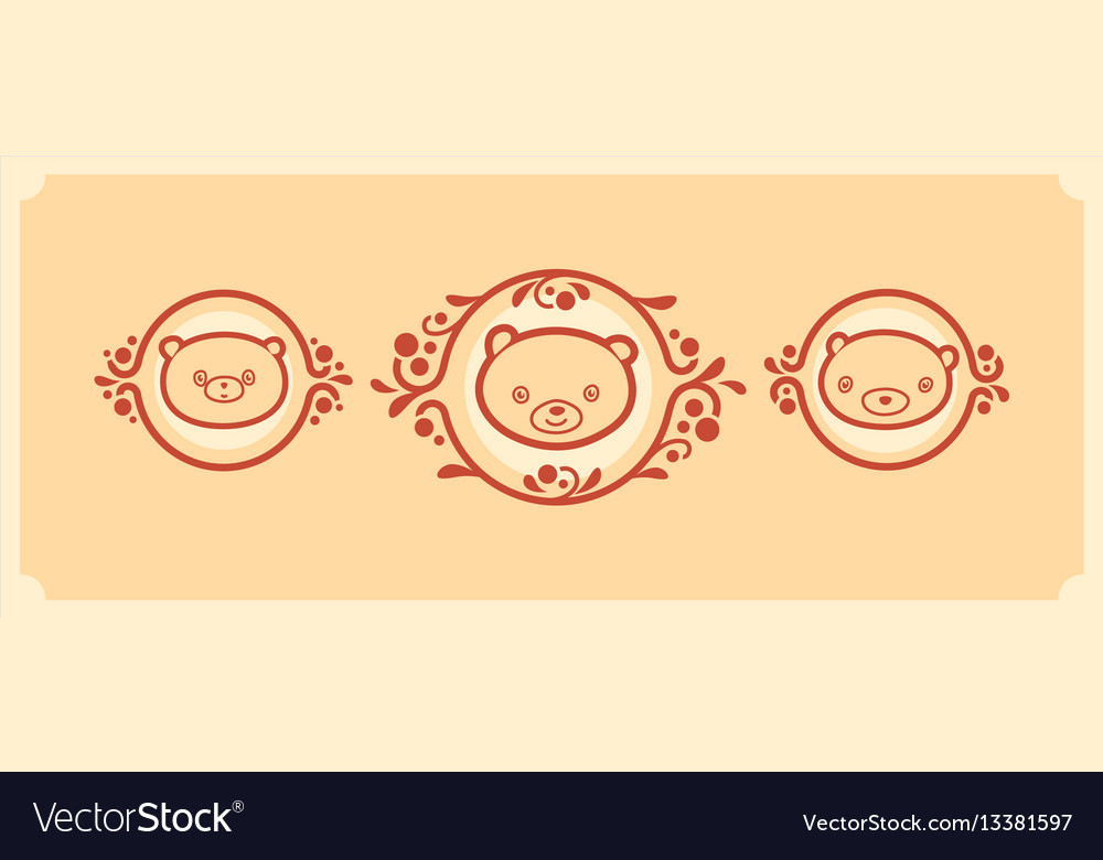Woodland animals icon set three teddy bears