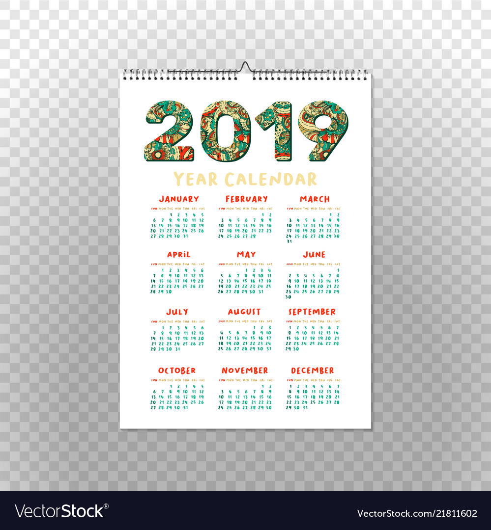 2019 year calendar xmas or happy new year holiday vector image