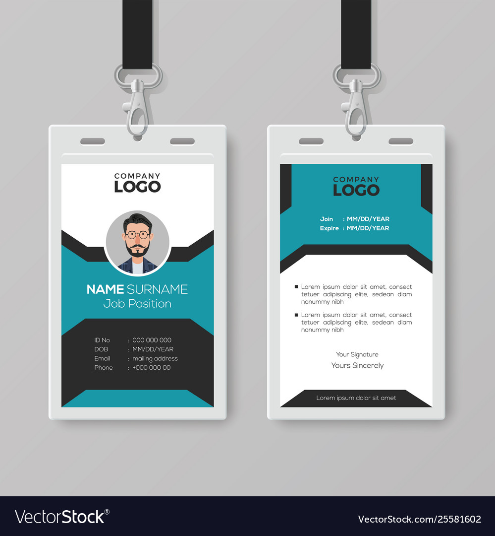 Creative Employee Id Card Template Royalty Free Vector Image