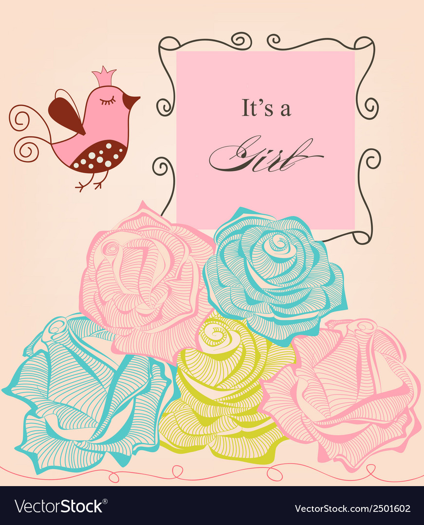 Floral baby girl shower roses and cute bird