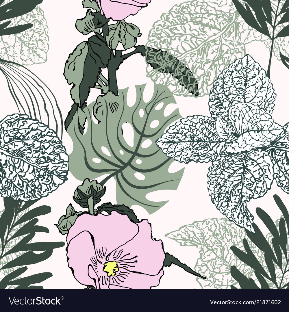 Floral trendy seamless pattern of tropical leaves