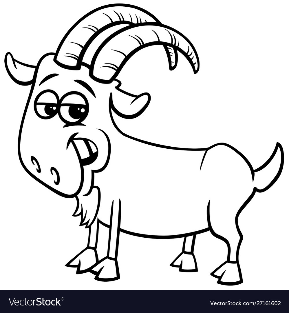 Goat Farm Animal Character Color Book Royalty Free Vector