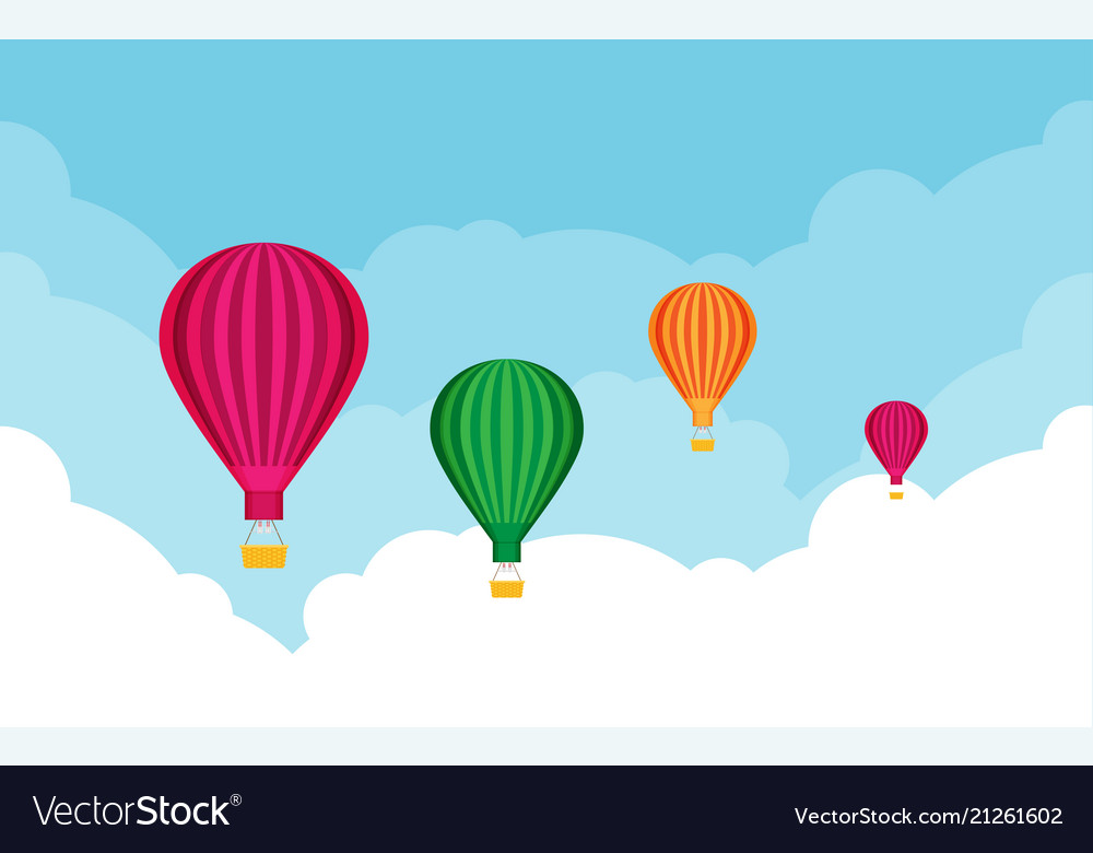 Hot air balloons tourism and vacation theme flat