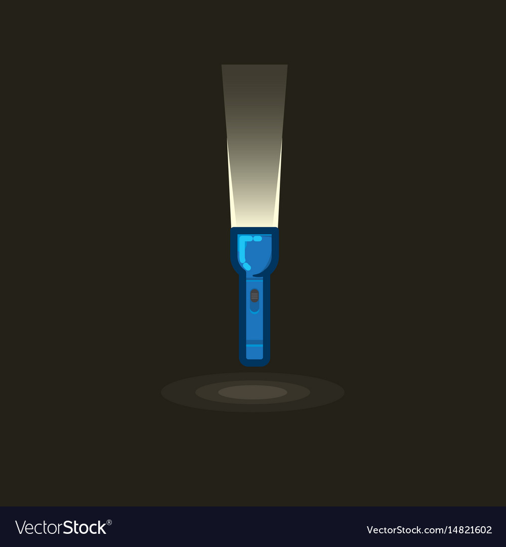 Icon blue hand lantern with beam light in vector image