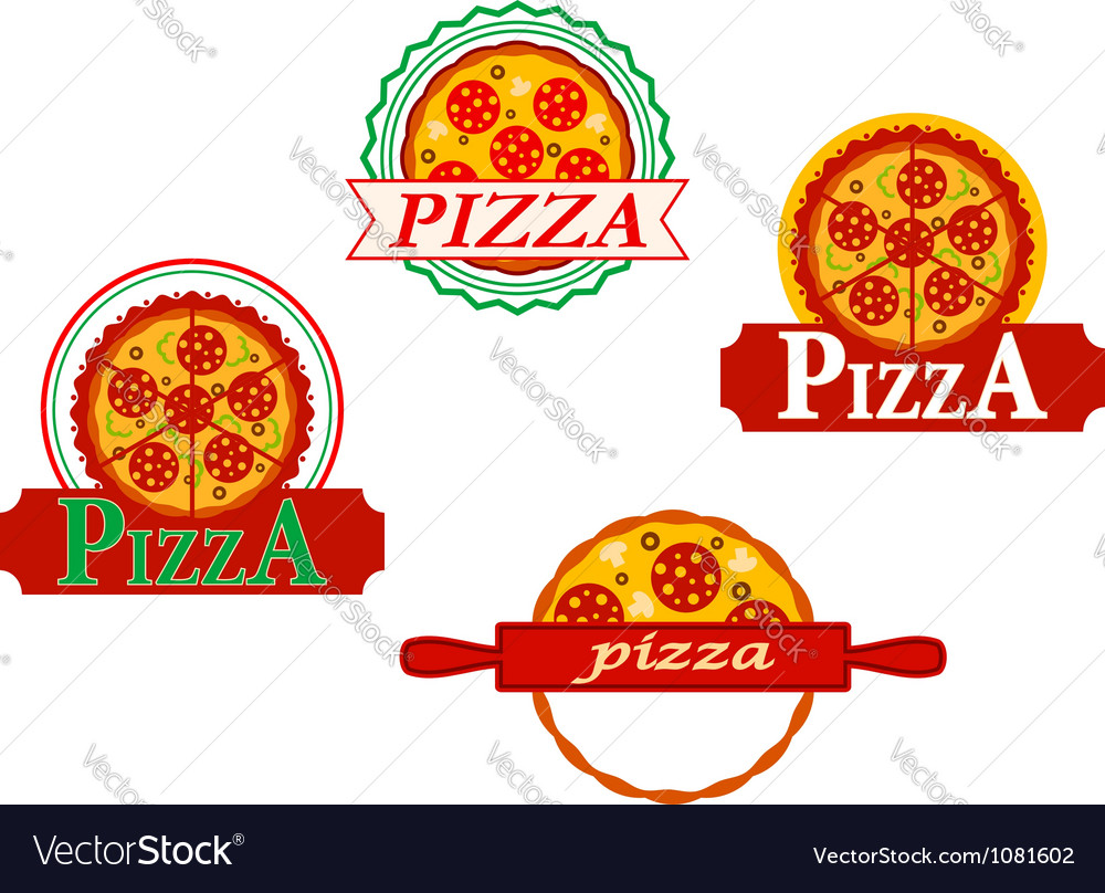Italian pizza banners and emblems set for cafe