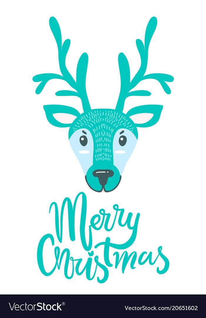 merry christmas greeting card with furry deer vector image - Christmas Furry