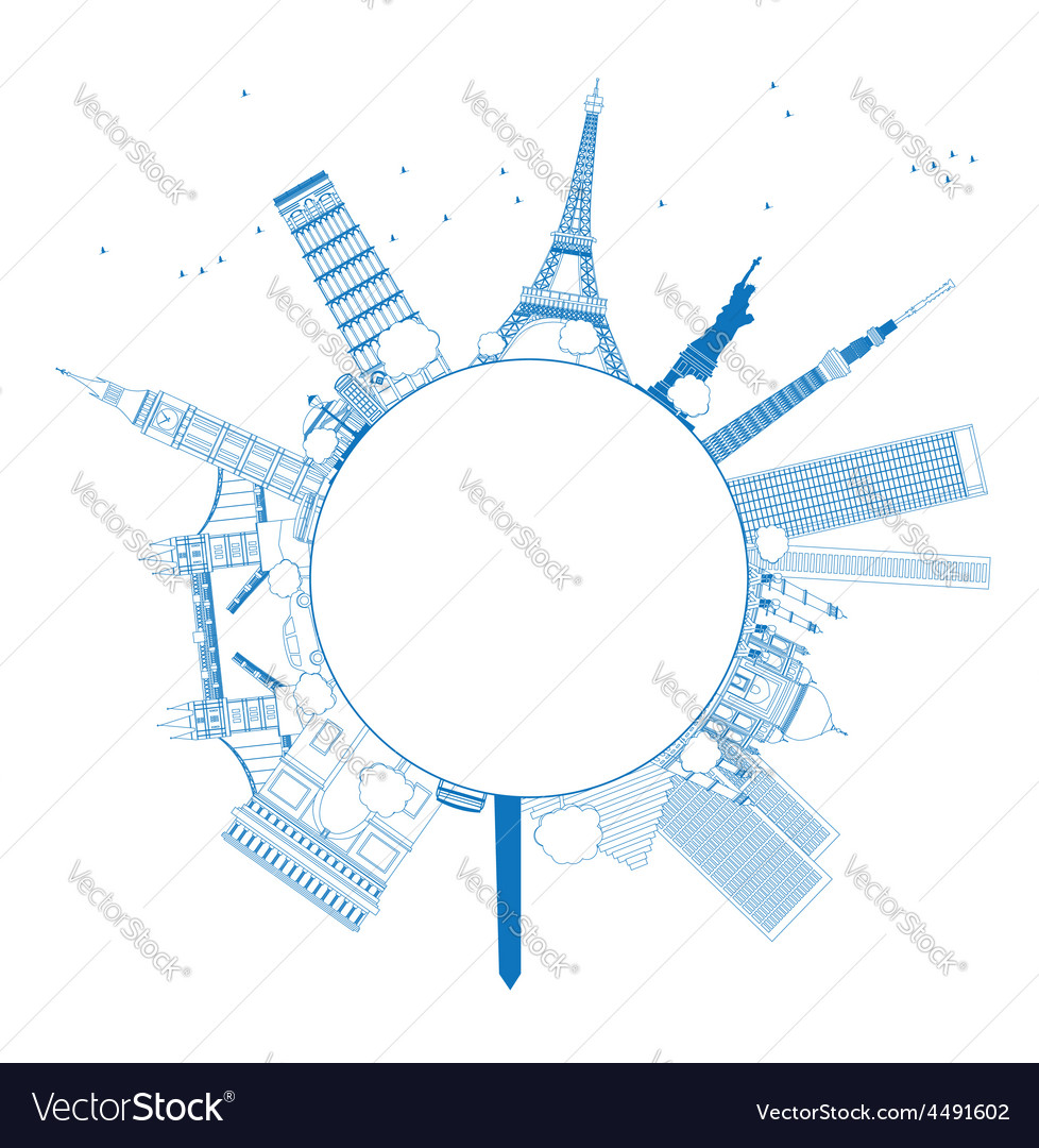 outline famous monuments and landmarks royalty free vector