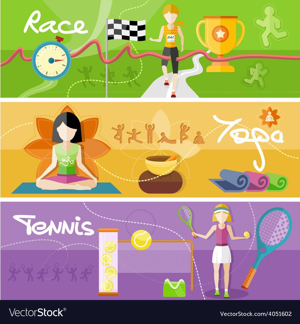 Race yoga and tennis concept