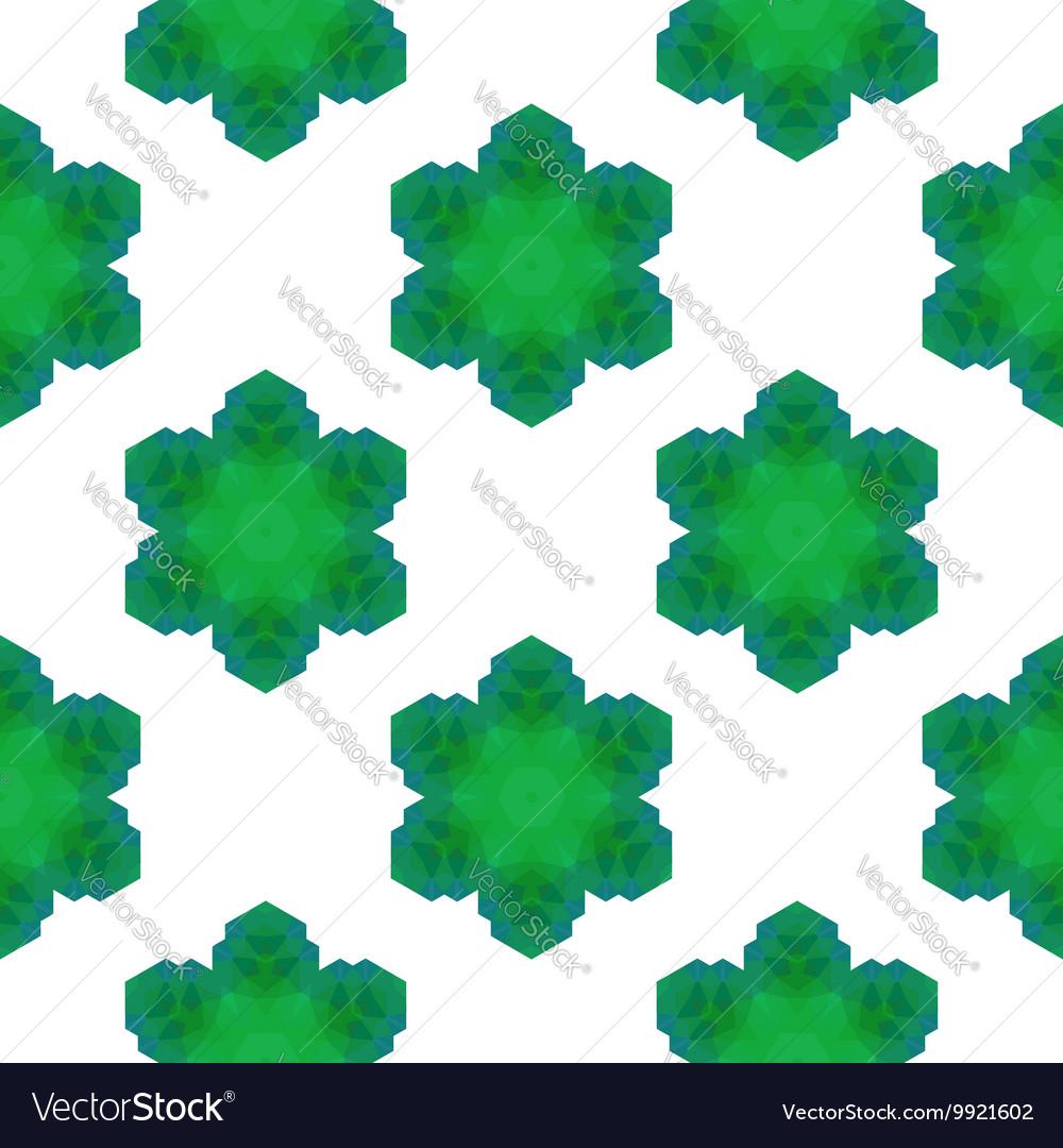 Seamless Green Snowflake Pattern
