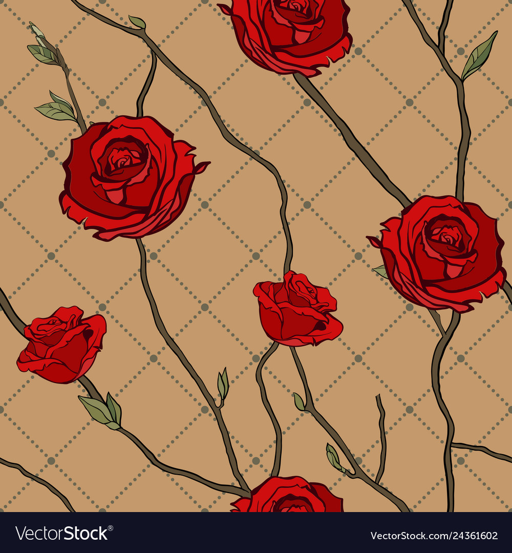 Seamless pattern of twigs and roses