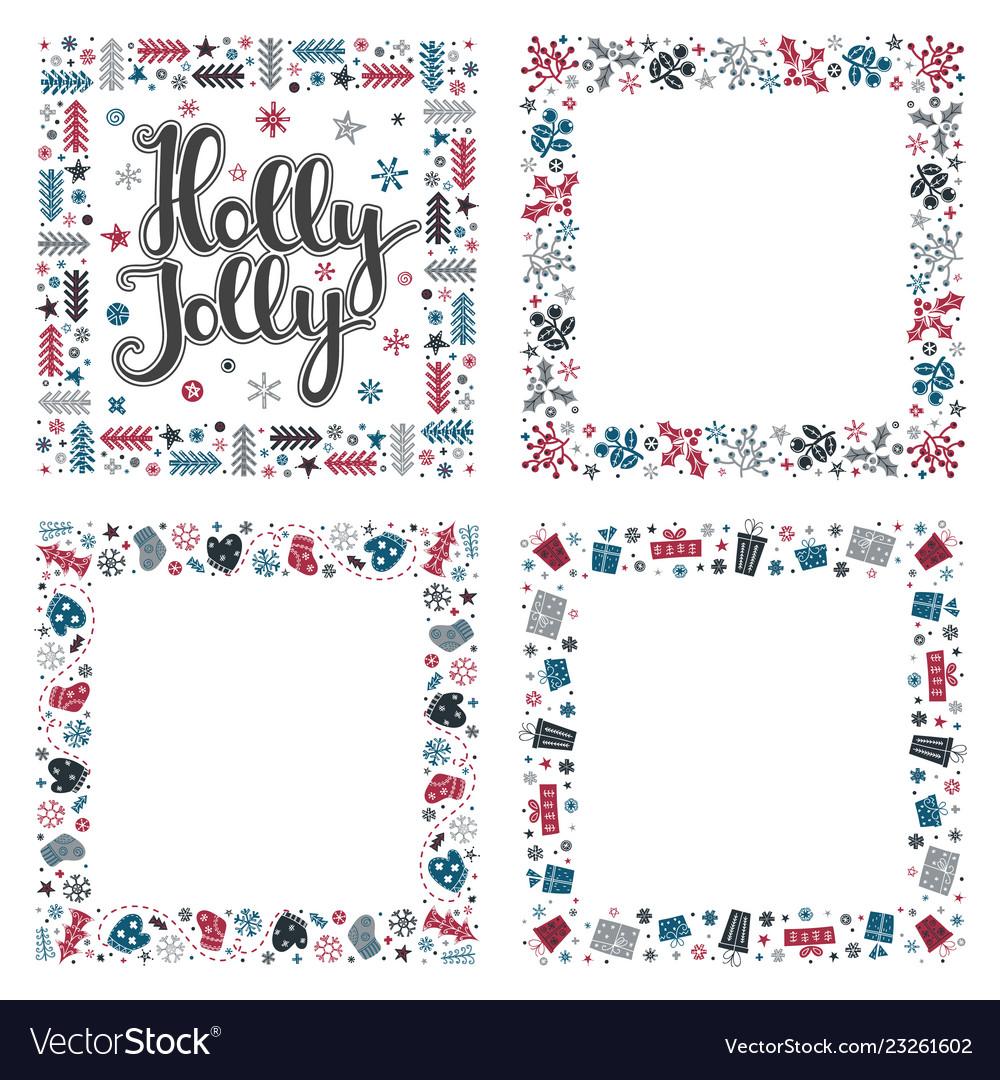 Set of xmas greeting frames