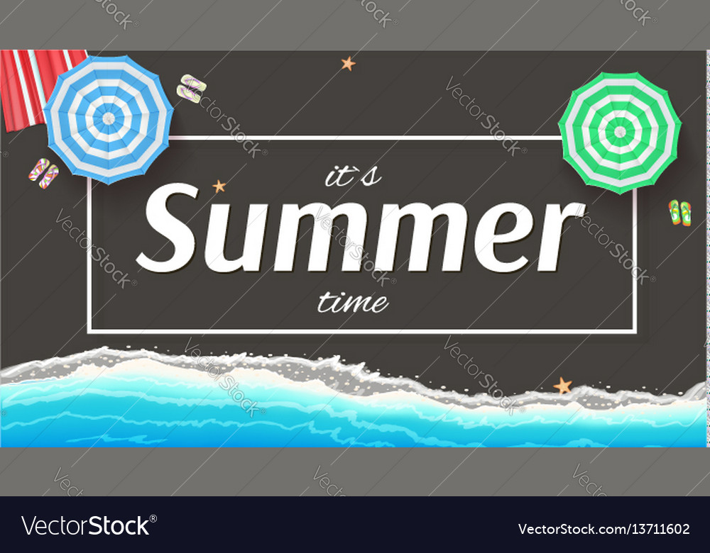 Summer background banner with seashore sun