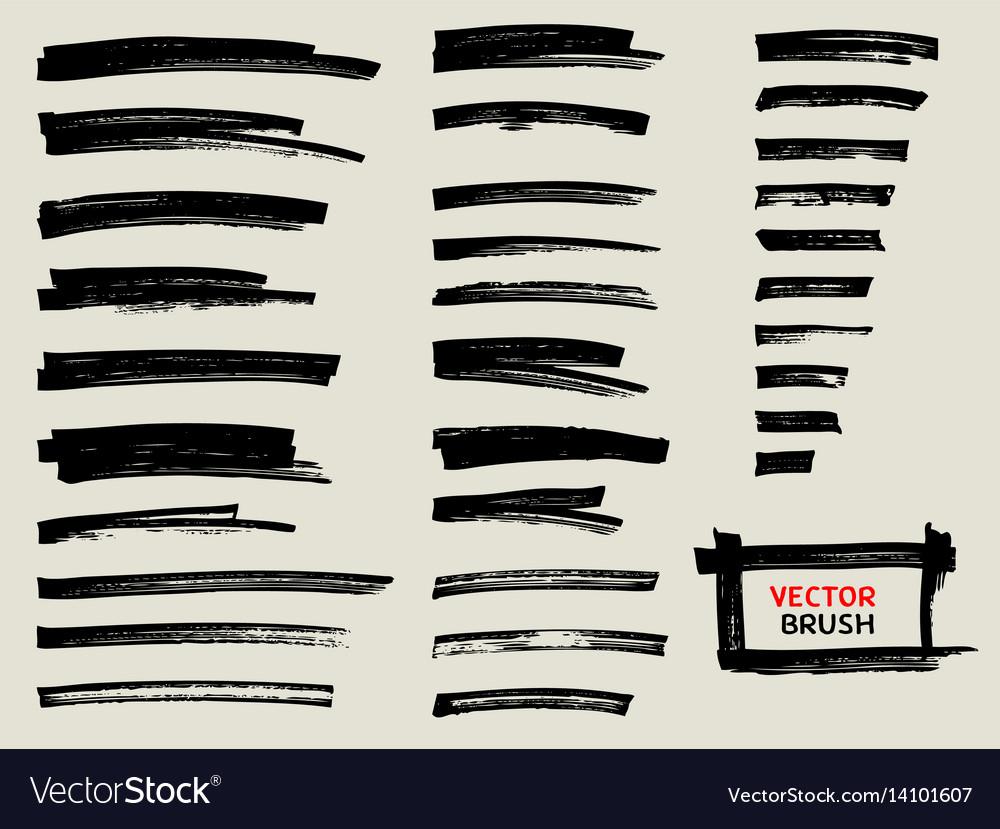 Black Marker Brush Stroke Set Royalty Free Vector Image