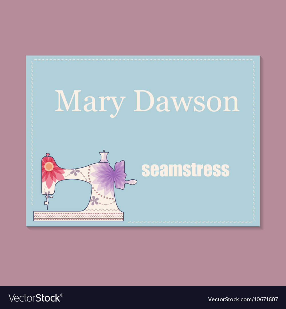 Business card for seamstress Royalty Free Vector Image