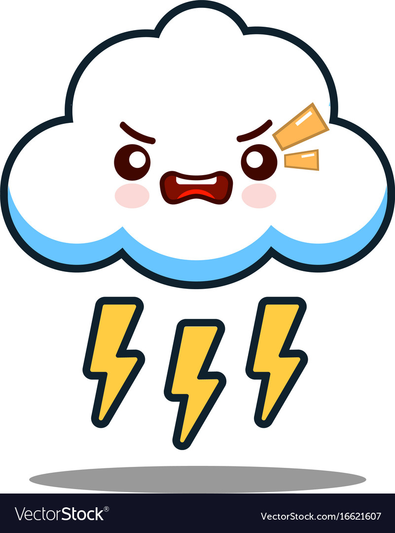 Cute cloud lightning bolt kawaii face icon cartoon