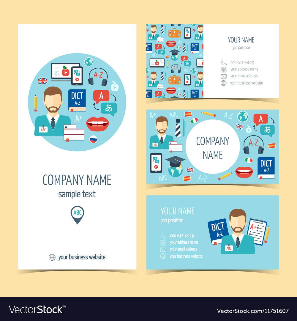 Flyer brochure and business cards for foreign Vector Image