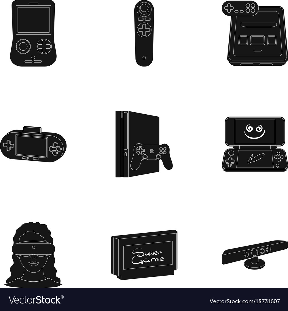 dced062bbc95 Game console and virtual reality black icons in Vector Image