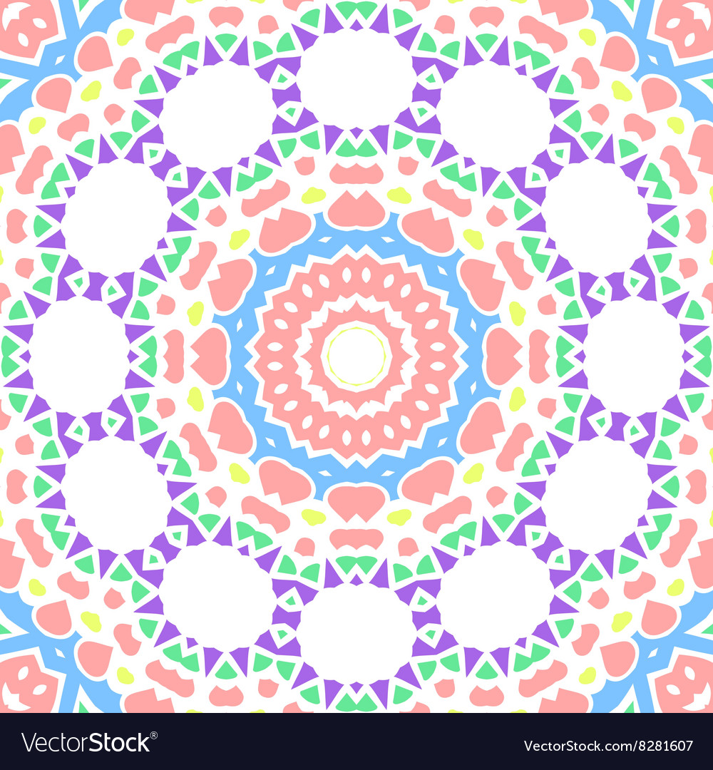 Geometrical seamless color flowers circles