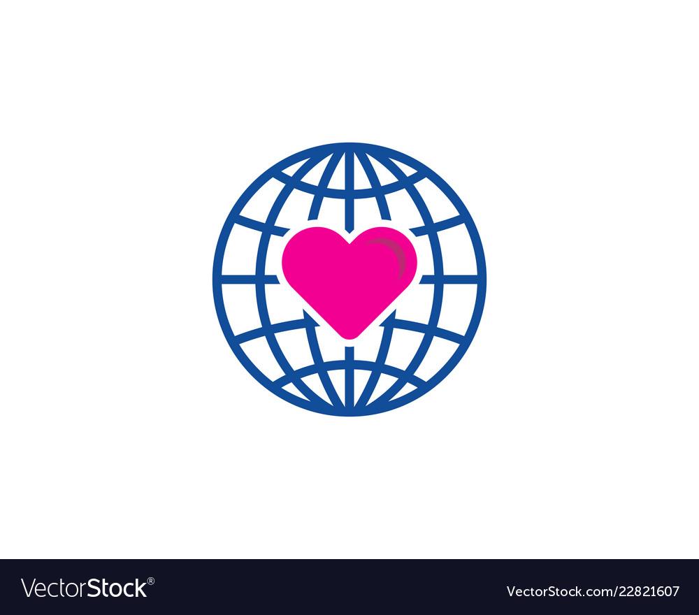 Globe love logo icon design