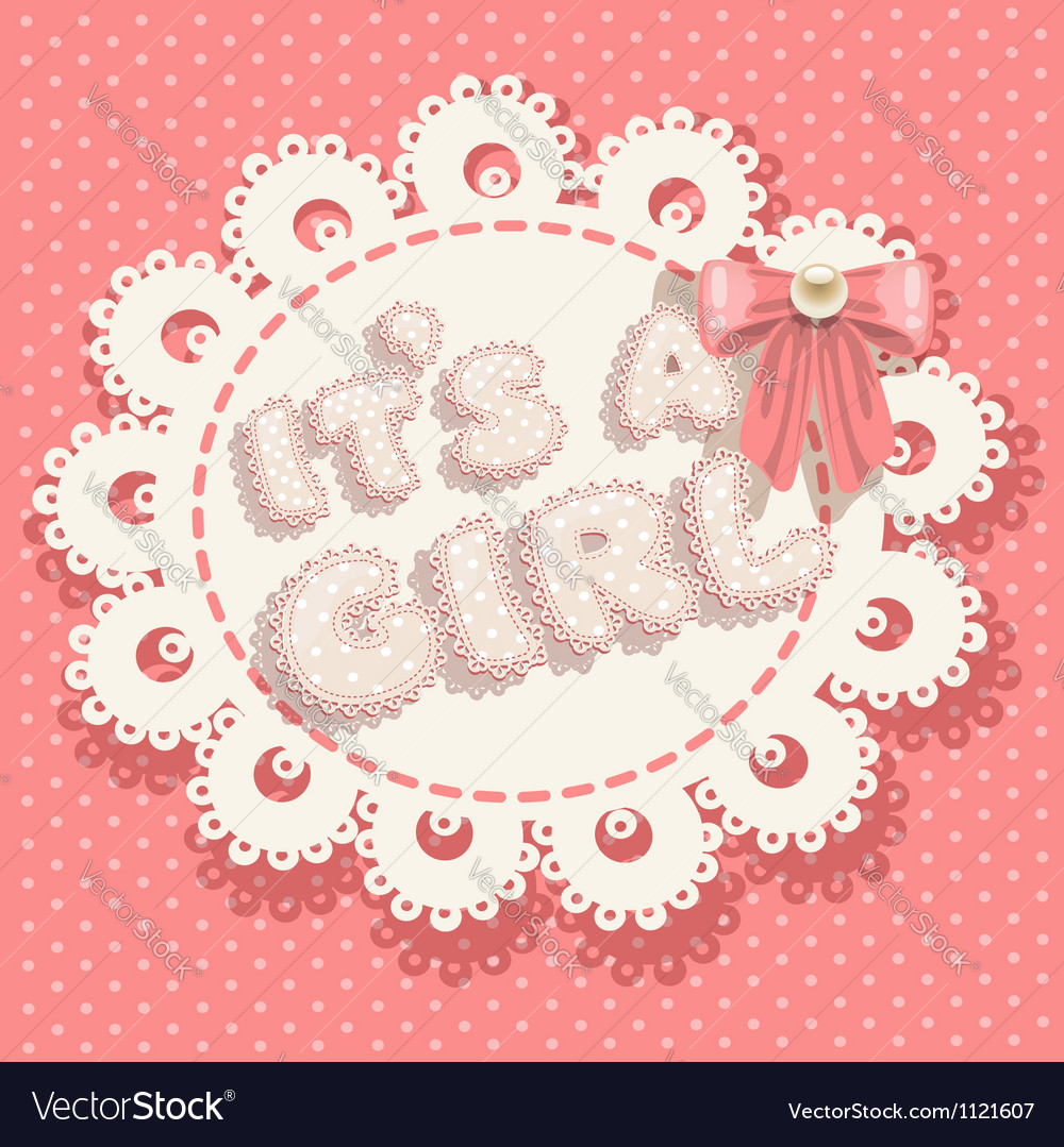 Its a girl pink baby shower with pink bow vector image