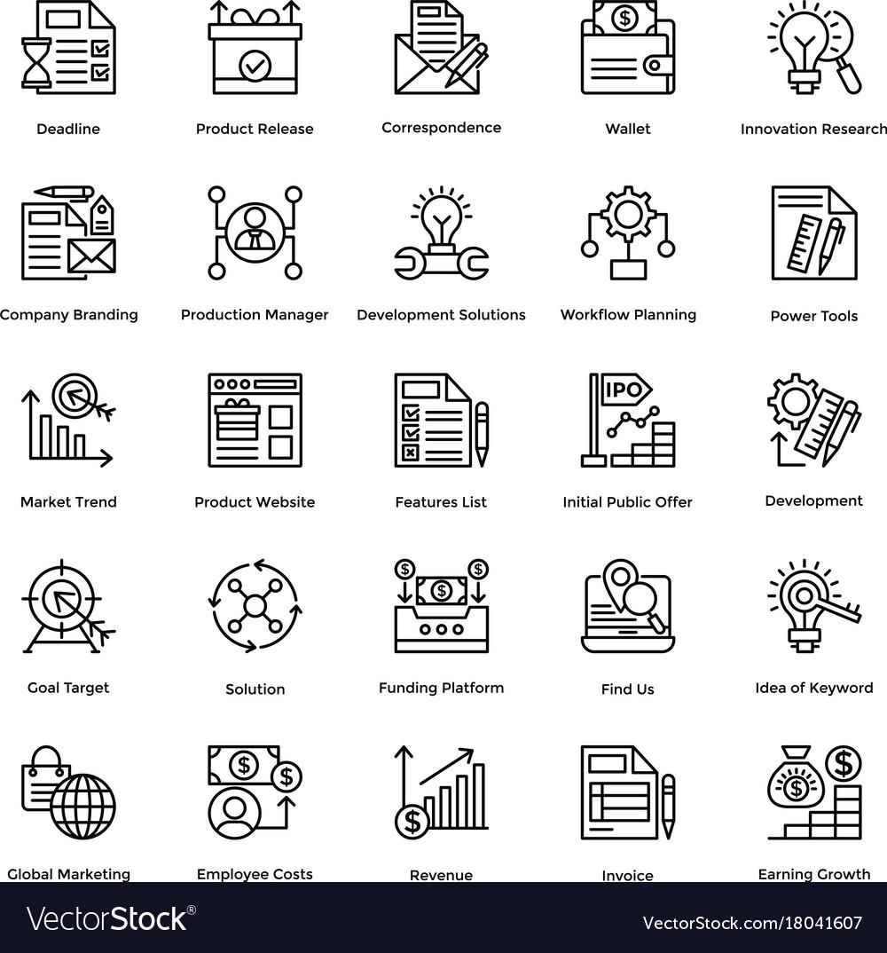Project management line icons set 20
